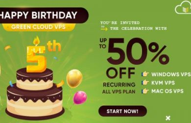 GreenCloudVPS promo code on 5th birthday sale